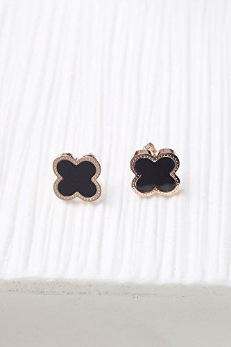 - HJPRT fan bingbing dress up steel four-leaf clover earrings earings dangler eardrop black white personalized 18k gold plated not fade (hematite