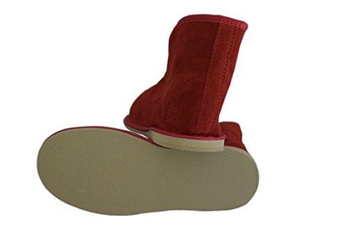 Natleat Slippers Womens Mens Unisex Natural Leather Sheepskin Slipper Boots, Damen Stiefel & Stiefeletten  braun braun, rot - Red / suede - Größe: 39 EU