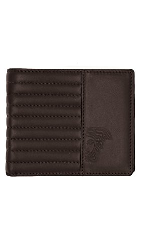 Men's Versace Classic Medusa Leather Wallet With Box (Brown Quilted) ()