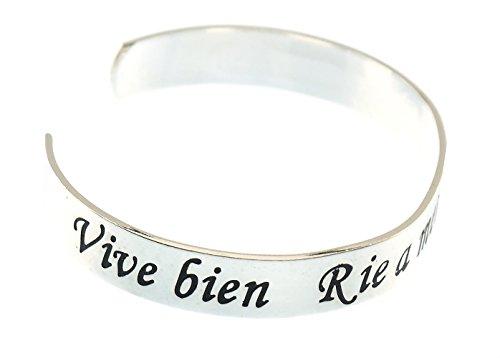 Vive Bien Rie a Menudo Ama Mucho Live Well Love Much Laugh Often in Spanish Cuff Bracelet