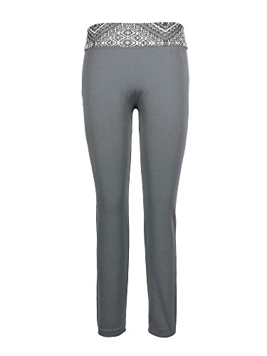 Crush Girls Skinny Printed High Waist Fold Over Athletic Leggings 7-16 Gray