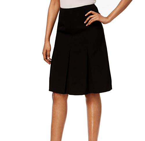Kasper Jet Womens Pleated-Hem Crepe A-Line Skirt Black 12