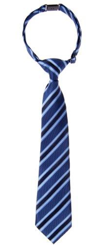 Retreez Preppy Stripe Pattern Woven Microfiber Pre-tied Boy's Tie - Blue - 24 months - 4 years