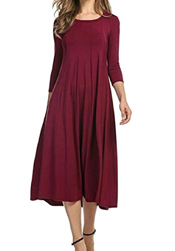Shift Solid Casual Color Maxi Swing Sodossny Neck Sleeve Womens AU Half Wine Round Red Dress 0Iw0qtv