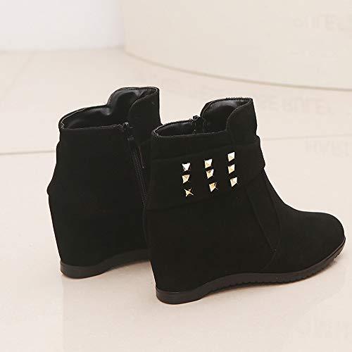 Chiusura Autunno Boots Stivali Nero Italily A Ragazza Aumentata Scarpe Piattaforma Stivali Casuale Tacco Scarpe Donne Scarpe Zeppa Piattaforma All'Aperto Gregge Primavera Moda xTT1Rn