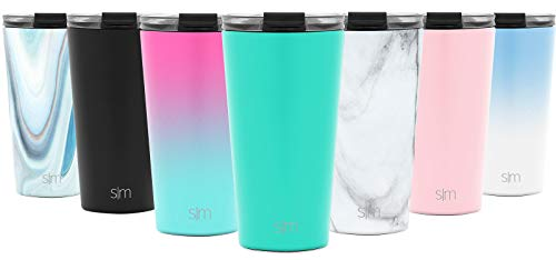 (Simple Modern 16oz Classic Tumbler with Clear Flip Lid & Straw - Travel Coffee Mug Vacuum Insulated Gift for Men and Women Beer Pint Cup - 18/8 Stainless Steel Water Bottle -Oasis)