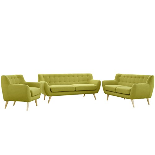 Modway EEI-1782-WHE-SET Remark 3 Piece Living Room Set, Armchair/Loveseat/Sofa, Wheatgrass