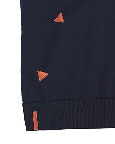 StyleDome Mujer Sudadera con Capucha Invierno Suéter Jersey Pulóver Cuello Alto Algodón Deportiva Corta Azul Oscuro