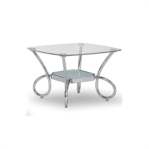 Global Furniture Clear/Frosted Occasional End Table with Chrome Legs