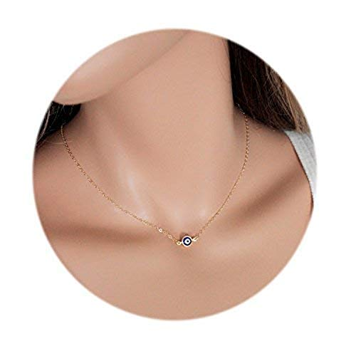 Cute Blue Evil Eyes Pendant Choker Necklace for Women and Girl (Gold) ()
