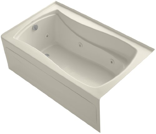 KOHLER K-1239-HL-47 Mariposa 60-Inch X 36-Inch Alcove Whirlpool Bath with Integral Apron, Tile Flange, Left-Hand Drain and Heater, ()