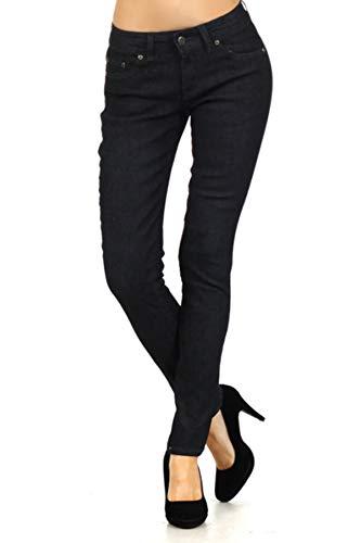 Women's Dark Wash Boot Cut Fleur De Lis Button Up Denim Jeans (5) Black