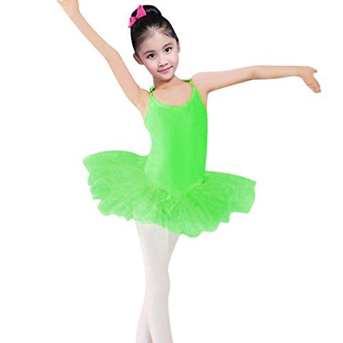 ea6988ac6 Fineser Toddler Little Girls Sleeveless Ballet Dance Tutu Dress Gymnastics  Leotard Dancewear (Green, 3 T)