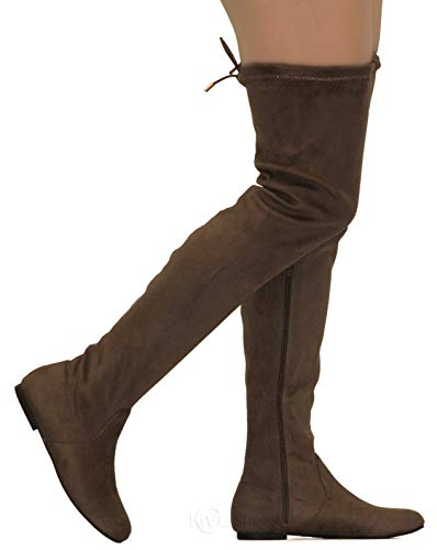 Flat Heel Thigh Boot - MVE Shoes Womens Fashionable Flat Over The Knee Boots - Comfortable Suede Adjustable Boots, Taupe Suede 8