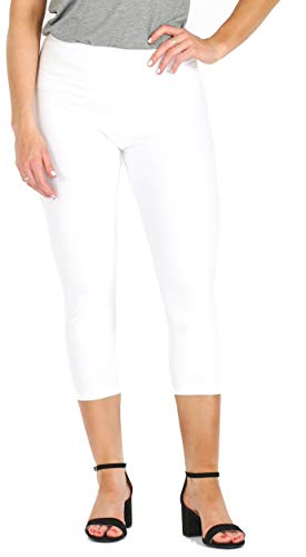 INTRO. Tummy Control High Waist Capri Length Legging WHT-XL (Leggings Stretch Cropped)