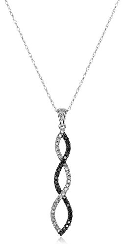 10K White Gold Diamond Twist Pendant Necklace (1/4 cttw), 18""