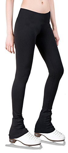 Figure Skating Pants with 2-tones Waistband (Black, Adult Small) (Ice Skating Pants)