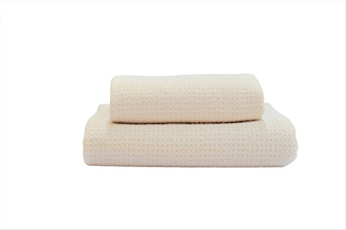Fina Ultra Absorbent Microfiber Waffle Towel - ONE SET of Bath(29 X 55 Inch) and Hair(19 X 39 Inch) Towel in Linen Color ONLY.