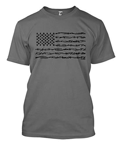 Gun American Flag - 2nd Amendment Rights USA Men's T-Shirt (Charcoal, -
