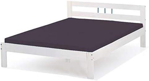 Bett 140x200 Cm Einzelbett Holzbett Massivholzbett Weiß Lackiert