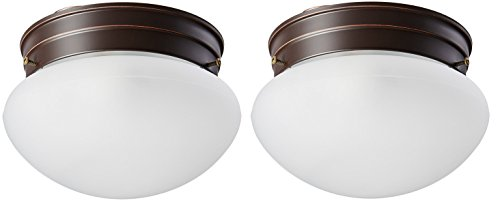 (Single Light Small Mushroom Flush Mount Ceiling Fixture with Frosted Glass Shade - 2-Pack)
