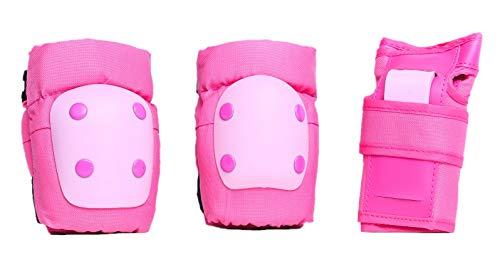 DA Deluxe Armour Kid Knee & Elbow PAD with Wrist Guard (Pink, Free) Deluxe Soft Knee Pads