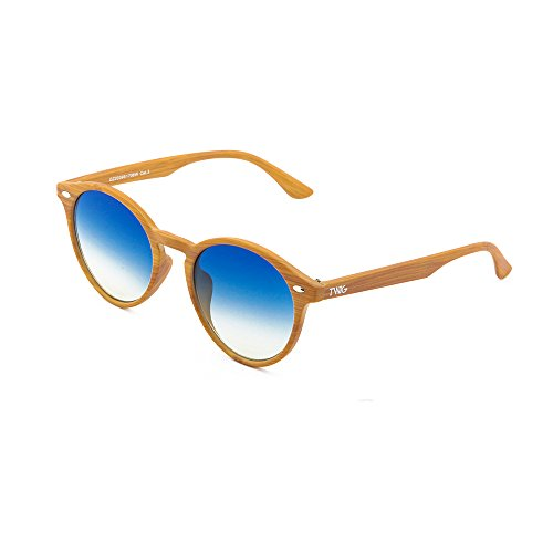 mujer FLAUBERT TWIG redondo madera Gafas Chestnut de sol Azul Degradado estilo hombre qg8BUBA