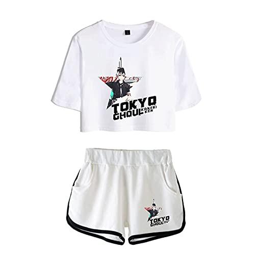 Lente en zomer Sexy Fashion Wit T-shirt Shorts Set Unisex Tokyo Ghoul Anime Sport T-Shirt Shorts Set
