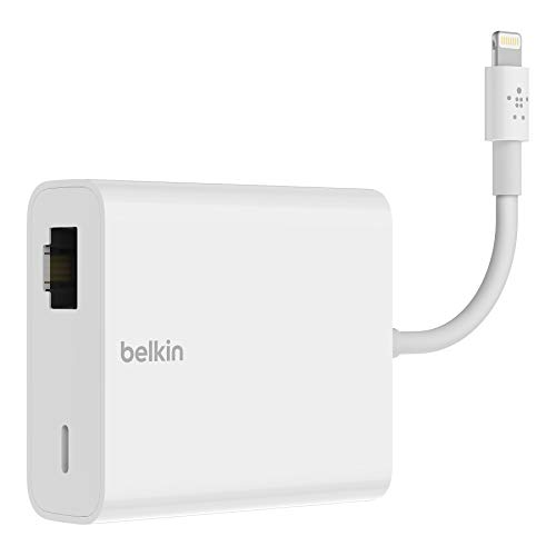 Belkin Ethernet + Power Adapter with Lightning Connector (Mfi-Certified Lightning to Ethernet Adapter for iPad POS Systems)