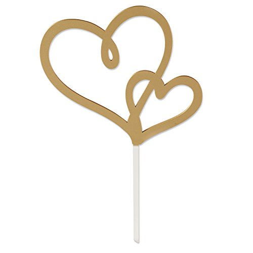 Kate Aspen 18167GD Double Heart Cake Topper, Gold (Cake Gold Heart)