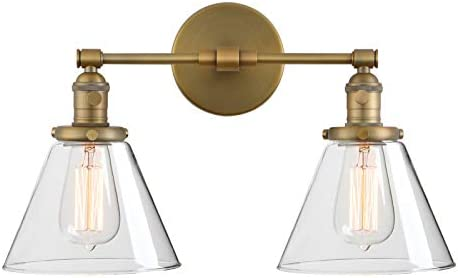 Phansthy Wandleuchte,Wandlampe,2 Flaming,Klar GlasTrichter, Retro Design, innen Modern,Vintage Industrie Loft-Wandlampe,Antik Deko Design,Wandbeleuchtung Küchenwandleuchte (antike Farbe)