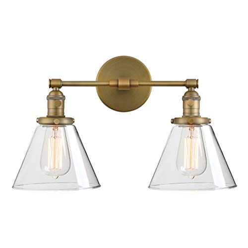 (Phansthy Double Sconce Antique Industrial Wall Sconce Light with Dual 7.3 Inch Cone Canopy(Antique) )