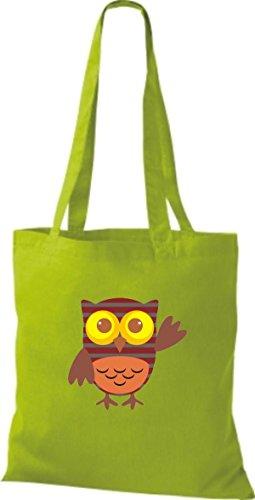 ShirtInStyle Jute Stoffbeutel Bunte Eule niedliche Tragetasche mit Punkte Owl Retro diverse Farbe, lime