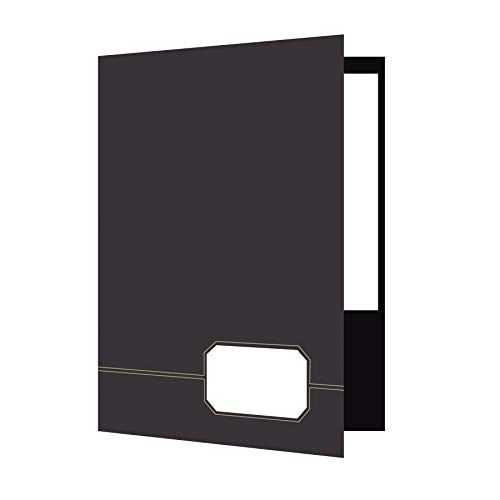 - Oxford Monogram Executive Twin Pocket Folders, Letter Size, Black with Gold Foil Trim, 4 Pack (04161EE)