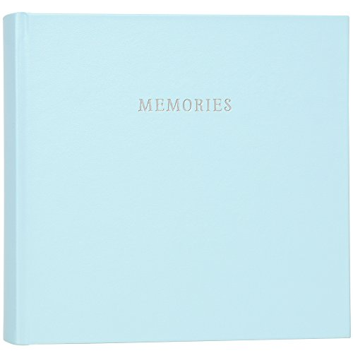 - C.R. Gibson Blue Bonded Leather Slim Bound Photo Journal Album for Baby and Newborn Boys, 9