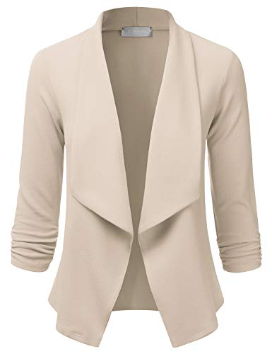 EIMIN Women's Lightweight Stretch 3/4 Sleeve Blazer Open Front Jacket Stone 3XL