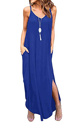 - Aifer Women's Summer Floral Print Boho Long Plain Dress Spaghetti Strap V-Neck Loose Beach Cami Maxi Sundress with Pockets (Royal Blue, Small)