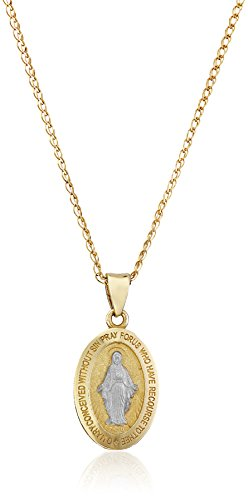 14k Gold Two-Tone Religious Miraculous Mary Medal Pendant Necklace