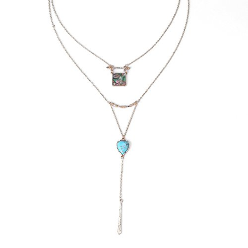 Turquoise Retro Square Stone Y Lariat Dural Layer Necklace Alloy Gold Chain (Dural Collection)