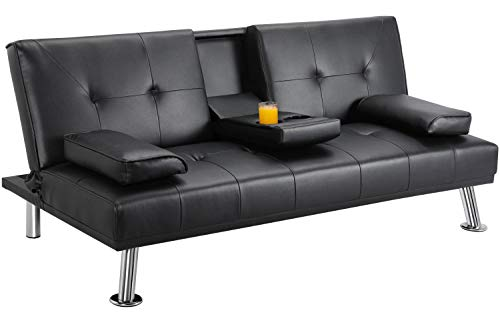 Yaheetech Leather Futon Couch