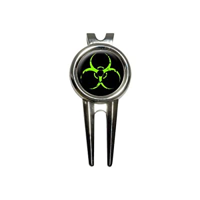 Zombie Outbreak Response Vehicle Biohazard Green Golf Divot Repair Tool and Ball Marker