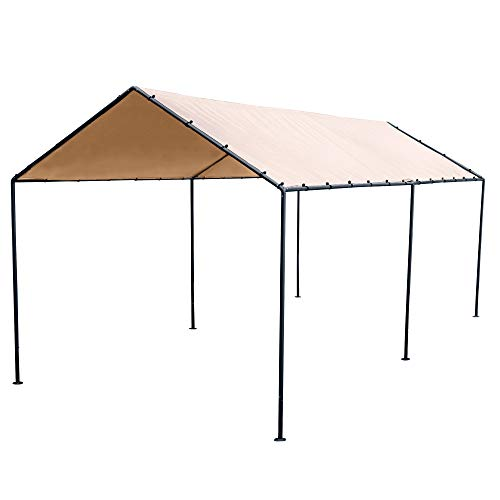 Abba Patio 10 x 20-Feet Light Portable Canopy with 6 Steel Legs, Beige Brown