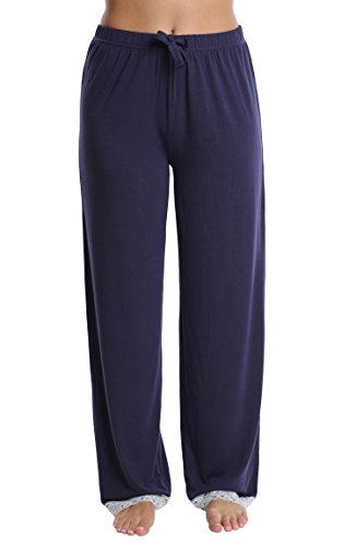 Nouveau Women's Lace Trim Pajama Pants – Ladies Lounge & Sleepwear PJ Bottoms – Navy, Small