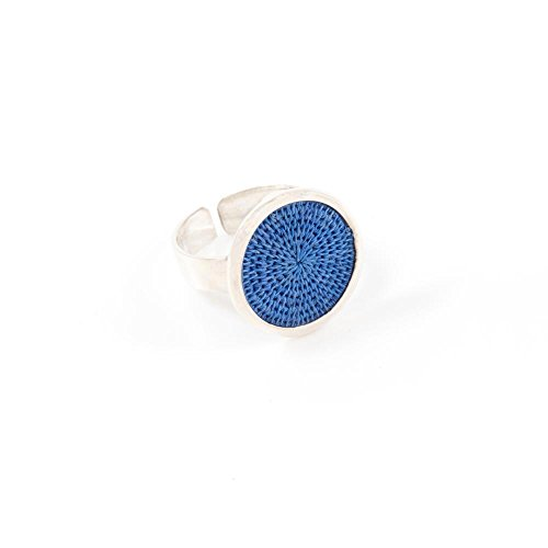 Baskets of Africa Fair Trade Sisal and Alloy Small Classic Disk Bezel Ring, Mykonos Blue, SJR51MB by Baskets of Africa