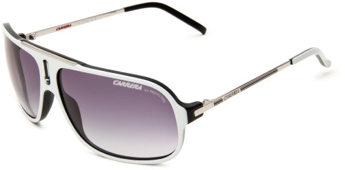 Carrera Cool/S Navigator Sunglasses,White, Black & Palladium Frame/Grey Gradient Lens,One - Carrera Shades Aviator