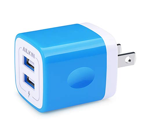 USB Wall Plug, Power Brick, Ailkin Dual Port Travel Fast Charger Block Brick Box Cube Station Replacement for iPhone X/7/6S/6S Plus/6 Plus/65, Samsung Galaxy S7/S6/S5 Edge, LG, HTC, Huawei, More