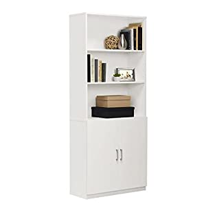 Aprodz Mango Wood Recta Bookcase with Cabinet for Living Room | White