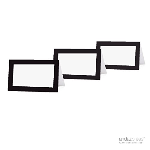 Andaz Press Table Tent Printable Place Cards on Perforated Paper, Formal Black and White, Blank Border, 20-Pack, Placecards Table Settings for use with Charger Plates and Place Card Holders, Catering, Food, Dessert Table Tent Cards