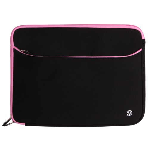 VanGoddy Neoprene Sleeve Cover for Fujitsu Lifebook 14-inch Laptops & Ultrabooks + Pink VG Headphones + Black SumacLife USB Mouse + 16GB Memory Card (Pink Trim)