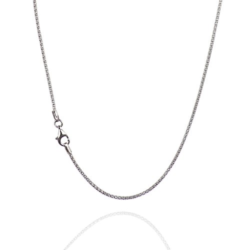 925 Sterling Silver 1.60 mm Diamond-Cut Pop Corn Necklace Chain With Pear Shape Clasp-RHODIUM FINISH (Popcorn Shape)
